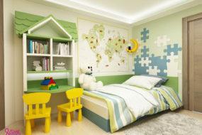 Застройщик детской комнаты в зеленом