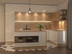 Красив проект на дневна и кухня в индустриален стил