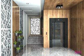 Проект и визуализации на фоайе на жилищна сграда.